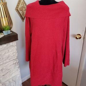 Alfani red cowl neck tunic sweater. Size 3X